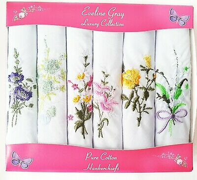 6 Pack Ladies Floral Flowers Cotton Embroidered Luxury White Handkerchiefs GIFT