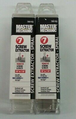 "Master Mechanic Screw Extractor #7 Use with 17/32"" Drill Bit(Set of 2)"