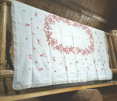 """Vintage Embroidered Cross Stitched Beautiful Floral Tablecloth 67"""" x 51""""-Lovely"""