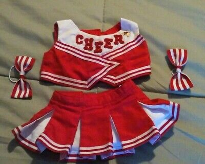 Build a Bear Red//White Cheer Top and Skirt 2pc set
