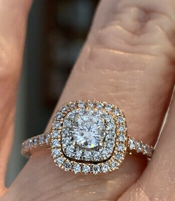 2939 Zales 14k Rose Gold Diamond Double Halo Solitaire Engagement Ring For Sale Picclick