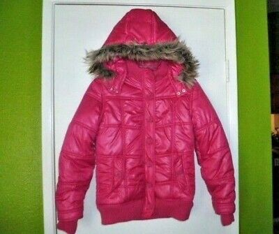 Justice Hot Pink Puffer Faux Fur Winter Jacket Girls Sz 14