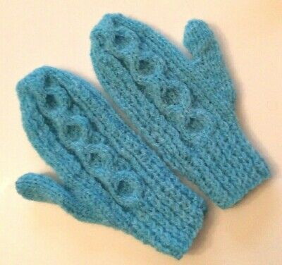 Hand Knitted Childs Aran Mittens, Blue, 3-5 Years, BNWOT