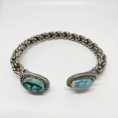 Vintage scarab beetle egyptian revival open cuff bangle/bracelet. Faience beads.