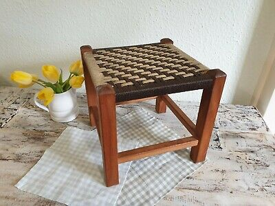 Charming Vintage Retro Wooden Woven Foot Stool Rustic Childs Stool Seat