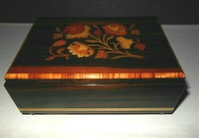 Vintage Inlaid Wood Musical Jewelry Box Made In Italy For I.d.i.