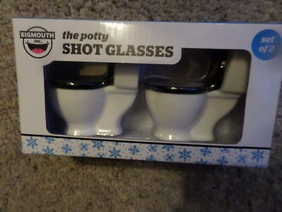 BIGMOUTH Set of 2 1.5 Oz The Potty Toilet Shot Glasses New In Box