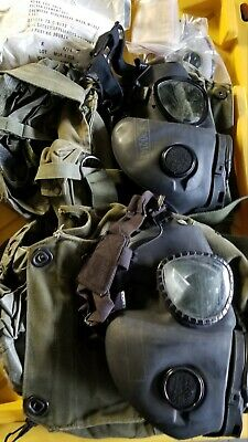 M17A1 Field Gas Mask, Carry Bag, Filter, hood & Lenses. 2 masks..AS IS..