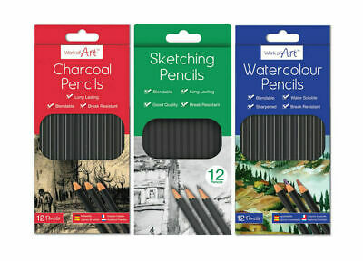 12 Charcoal Sketching Water Colour Pencils Drawing Set School Kids Art Colour