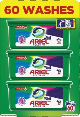 Ariel 3-in-1 Colour HD Washing Pods Liquid Gel Laundry Capsules - 60 Washes