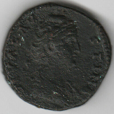 FAUSTINA SENIOR (died 141AD) AE 30mm Sestertius Her draped bust / Vesta goodFine