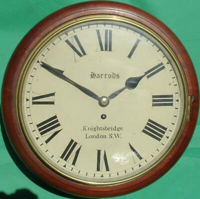 Harrods Knightsbridge Antique Mahogany 8 Day Fusee Dial Wall Clock