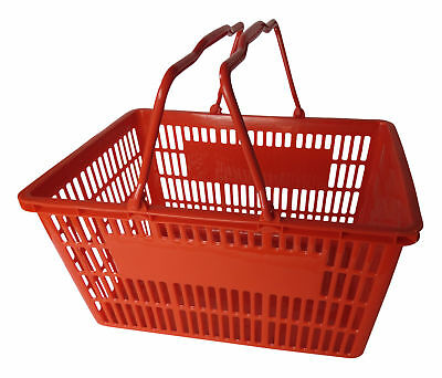 Pack of 25 x Red Supermarket Shopping Baskets. 2 Handle for Grocery Retail Shop.