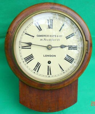 "Camerer Kuss & Co Antique English Mahogany 8 Day 8"" Dial Dropdial Wall Clock"
