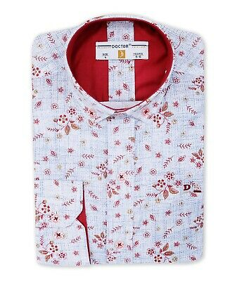 Doctor Junior Boys Slim fit Floral Printed Casual Smart Cotton Blue & Red Shirt