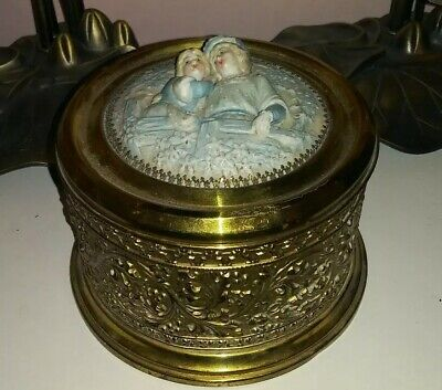 Antique Victorian Brass Porcelain figural Trinket/powder Box Large And Beautiful
