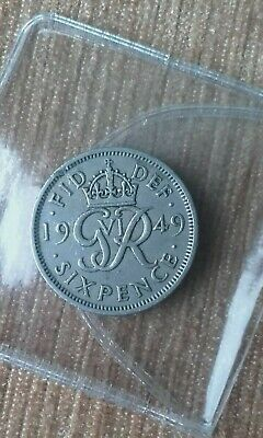 British Silver Sixpence 1949 Birthday Year Coin George VI Jewellery Making