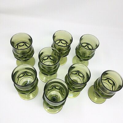 Lot Of 8 MCM Mid Century Modern Emerald Green Glass Drinking Goblets Vintage