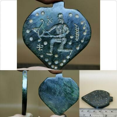 Near Eastern Old intaglio Jade stone Arrow hunter Pendant    # 123