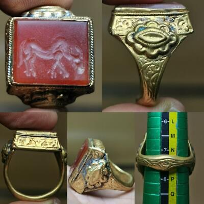 Old Beautiful Agate stone intaglio Horse Lovely Ring   # 123
