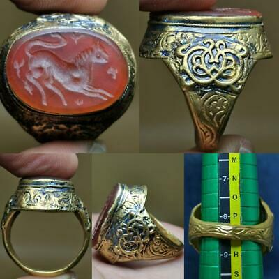 Antique Agate stone Gold gilding Lion Intaglio Old Lovely Ring  # 123