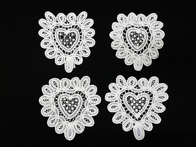 "4 pcs Handmade Battenburg Batten Lace White Cotton Heart Shape Doily 6"" Applique"