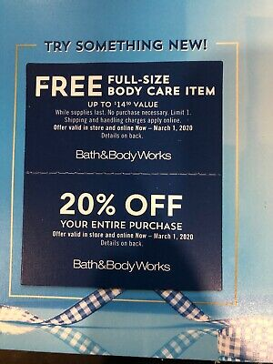 Bath And Body coupons Expires 3/1/2020