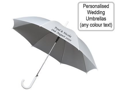 Personalised White Wedding Umbrella for Bride Groom Guests - Any text or colour