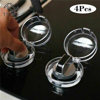 4pcs Gas Stove Oven Knob Cover Padlock Lid Lock Protector Baby Kitchen Safety
