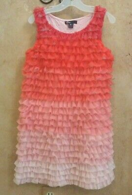 Gap Kids Girls I WANT CANDY Pink Ombre Tulle Tiered Dress Medium Size 8