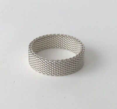 "Ladies Textured Silver Tone Metal 0.25"" Wide Band Ring Size 6.5"