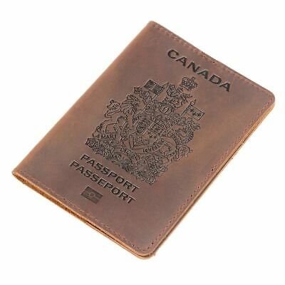 Canada Passport Cover Genuine Leather Credit Card Holder Case Travel Pass Wallet