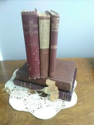 Lot 5 of maroon/Shades of red burgundy Old Vintage Antique Rare Hardcover books