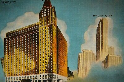 Hotel Victoria Radio City Postcard Art Deco Illustrated Times Square Postcard