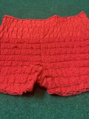 Vtg cotton ruffled lace panty square dance pantaloons bloomers~RED~ No Elastic
