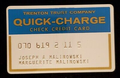 Trenton Trust Company Quick Charge Check Credit Card♡ cc790 New Jersey