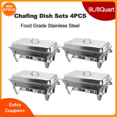 4 Pack Catering Stainless Steel Chafer Chafing Dish Sets 9L 8QT Full Size Buffet