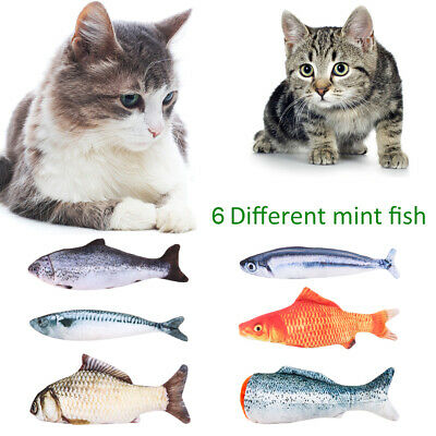 6Pcs Mint Catnip Realistic Cat Toy Kitten Playing Fish Shape Pet Interactive Toy