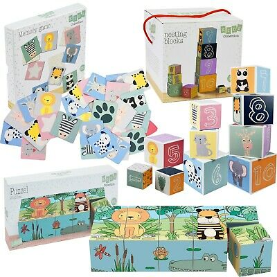 Kids Memory Game Nesting & Stacking Blocks Set & Puzzle Set Cardboard Games