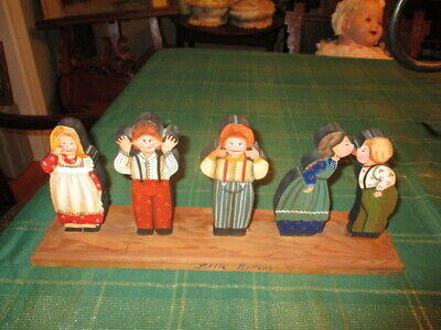 Hand Carved & PAINTED ALL Wood CHILDREN FIGURES Folk Art 15 X 3 VG COND & PRICE