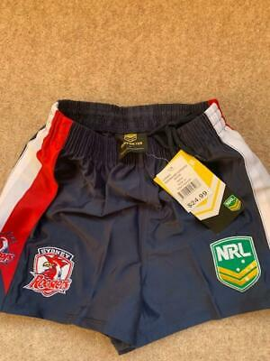 AUTHENTIC LICENSED ISC  NRL SYDNEY ROOSTERS  KIDS SHORTS  RRP £24 AGE 11//12