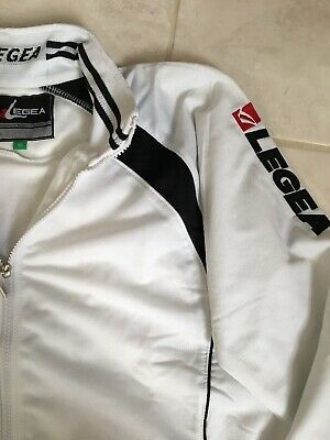 Legea Full Tracksuit Zip Up Top & Bottoms/Sweatpants XS - White & Black - BNWT
