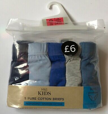 Marks And Spencer Boys Multi Pack Briefs Blue/Grey Age 9-10 Bnip