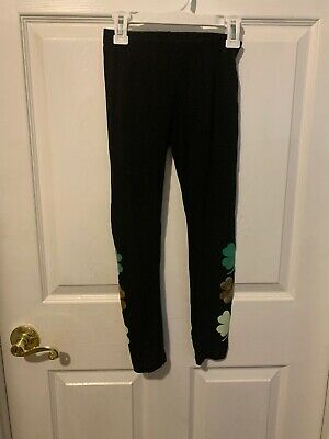 Girls Leggings St. Pattys Day Shamrocks 7/8 Black