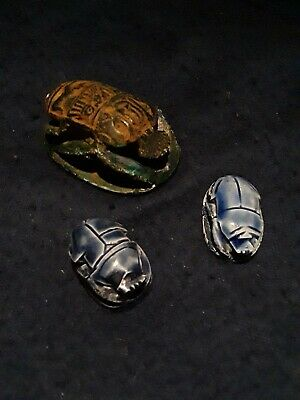 Egyptian Scarabs Lot Of 3 Ancient