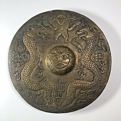 "Hand Hammered Brass Primitive Temple Gong Dragons Faces 11"" And 1 LB Asian Art"