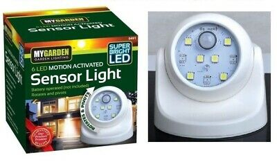 6 LED SENSOR LIGHT PIR Motion Activated Indoor Outdoor Night Security Wireless