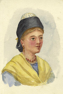M.R.M.T.A., Woman of Arles in Headdress, France – 1877 watercolour painting