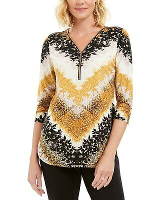 $54.50 Jm Collection Zip Front 3/4-Sleeve Top Size Xl Nwt