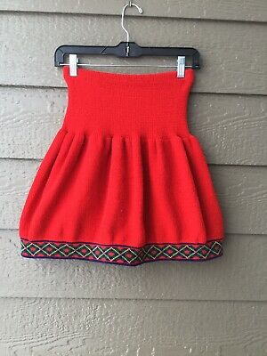 Vintage Jet Set Cool Kids clothes, red skirt, Large 14, made in USA